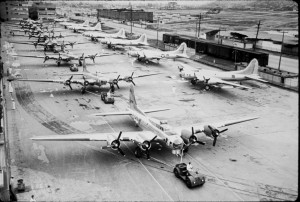 Bomber production line at Boeing Field during WWII.