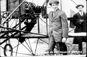 Plot Charles Hamilton readies for daredevil flight at the Meadows in Seattle in 1910.