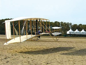 The Wright Experience's first Flyer—-an exact sister ship of the museum's machine-—flew in December 2003 in conjunction with the official Centennial of Flight celebrations in North Carolina.