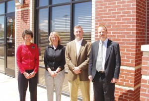 L to R: Greenwood Village Mayor Pro Tem Karen Blilie, Tin Star partners Dana Vollbracht and John Jourde, and South Metro Denver Chamber of Commerce President John Brackney.