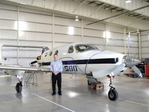Rick Adam poses with A500 SN 2 in 2003. In May, the FAA issued a type certificate to Adam Aircraft for the A500 centerline twin.