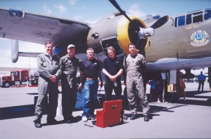 "The flight crew of the B-25J ""Heavenly Body,"" L to R: Stuart Bloom, George Hulett, Chuck Enoch, Chad Sisk and Craig Abernethy."