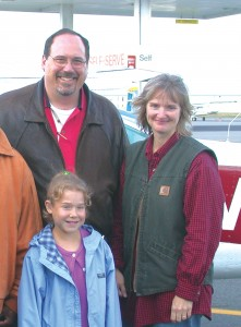 Young Addie Tom, 12, of Stevensville, Mont., has flown three times with Dale Terwedo. After years of fighting renal failure, she recently received a kidney transplant from her mother, Gayle (far right), but still needs follow-up visits to Children's.
