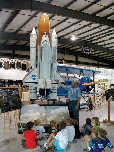 An Explorer space shuttle model was part of a NASA traveling exhibit.