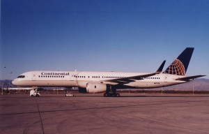 This Boeing 757-200, parked on the ramp in Tucson, is the newest airliner to be equipped with a blended winglet system.