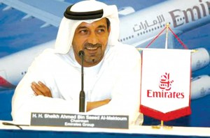 Emirates Airlines is wholly owned by the government of Dubai and tied closely to the royal family through its chairman, His Highness Sheikh Ahmed bin Saeed Al-Maktoum, the younger brother of the late ruler of Dubai.