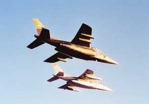 A pair of Alpha Jets flies formation on a training mission.