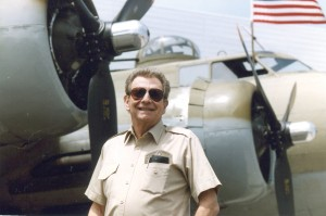 Hal Fishman has long been a fan of military aircraft, in addition to his record-setting fascination with general aviation. Here, he visits a B-17 at Santa Monica Municipal Airport in 1990.