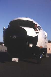 A front profile of the converted Gooney Bird with Phil Petersen behind the wheel.