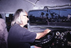 Phil Petersen driving the Space Shuttle Cafe.