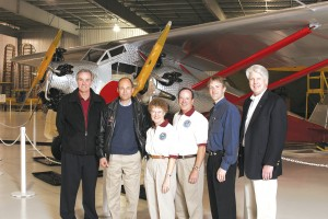 "Attendees at ""Legends in the Sky"" had the chance to visit with L to R: Burt Rutan, Bertrand Piccard, Martha and John King, Erik Lindbergh and Greg Herrick."