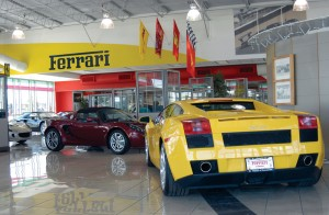 Inside the showroom of Stewart's Ferrari of Denver, located between S. Broadway and S. University Blvd. on E. County Line Rd.