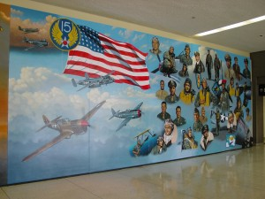 This mural honoring the Tuskegee Airmen hangs at Los Angeles International Airport on the lower/arrival level of terminal three.