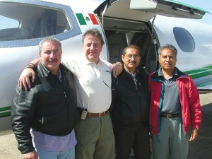 Members of the Mexican delegation arriving at Grayson County Airport included, L to R: Captain Adolfo Morlotti; Armando Gomez, operations director; Jose Galvan, copilot; and technician/mechanic Raphael Fuentes.