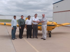 L to R: IndUS Engineer Rahul Rajvanshi, FAA MIDO Manager Vaughn Schmitt, IndUS Owner Ram Pattisapu, IndUS Director of Sales Scott Severen and FAA Inspector Richard Murdock.