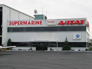 A view of the main Supermarine hangar at Stewart Airport with its temporary banner.