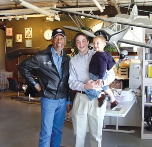 Jesse with nephew, Keagan, and Airport Journals' board member, Morgan Freeman.