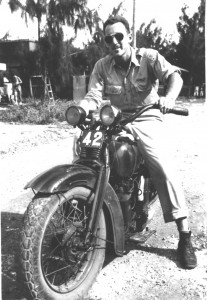 "David Oreck ""requisitioned"" this Japanese motorcycle from a Japanese officer on the island of Saipan in the Marianas (1943)."
