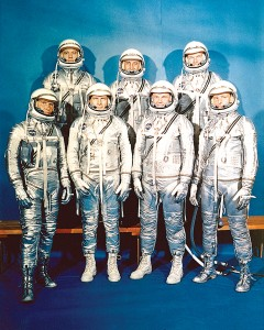 "Mercury Astronauts, front row, L to R: Walter H. Schirra Jr., Donald K. ""Deke"" Slayton, John H. Glenn Jr., and Scott Carpenter; back row, Alan B. Shepard Jr., Virgil I. ""Gus"" Grissom, and L. Gordon Cooper."