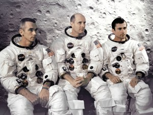 The prime crew of the Apollo 10 lunar orbit mission at the Kennedy Space Center, from L to R: Eugene Cernan, LM pilot; Thomas Stafford, commander; and John Young, command module pilot.