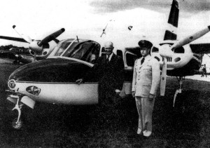 L to R: President Eisenhower and presidential pilot Col. William Draper in front of the L-26C Aero Commander that often flew between Gettysburg and Washington, D.C.