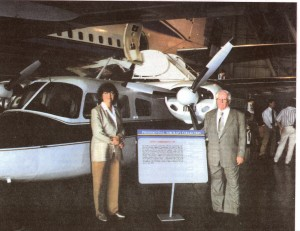 "Mr. and Mrs. J.W. Duff proudly stand in front of the Aero Commander that once flew ""Ike"" around."