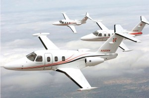 All three Eclipse 500 test jets fly in formation.