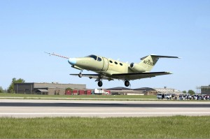 The Cessna Citation Mustang departs from McConnell Air Force Base in Wichita, Kansas, on April 23, 2005 for its successful first flight.