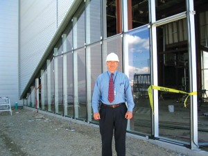 David Waggoner, Paine Field airport director, checks progress at the construction site of the new Future of Flight Center and Boeing Tour project.