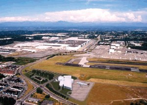 Artist's rendering of Paine Field, including the Future of Flight Center and Boeing Tour project.