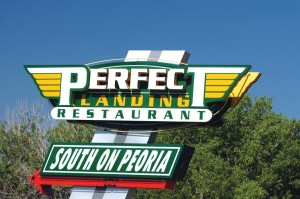 The Perfect Landing is challenging to find if you've never been there. From South Peoria Street and East Arapahoe Road, enter Centennial Airport, head southwest and follow the signs to the Denver jetCenter. The restaurant is on the second floor.