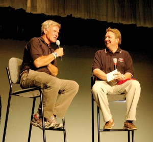 Harrison Ford participated in a question-and-answer section with Steve Buss, Young Eagles executive director, at Theater in the Woods.