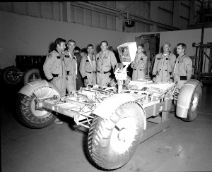 L to R: In this November 1971 photograph, Astronauts John Young, Eugene Cernan, Charles Duke, Fred Haise, Anthony England, Charles Fullerton, and Donald Peterson await deployment tests of the lunar roving vehicle qualification test unit.