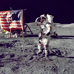 Eugene Cernan salutes the flag on the lunar surface during extravehicular activity on NASA's final lunar landing mission.
