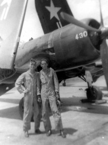L to R: Aviation Midshipman Jack Eckstein and NavCad Fred Blechman flew F4U Corsairs in advanced flight training in Corpus Christi, Texas, in the spring of 1950. Eckstein retired as a Navy captain.