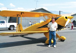 Pat Quinn, by his Bucker Jungman, also keeps his Beechcraft Debonair at Santa Paula Airport.