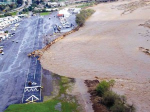 Santa Paula Airport's eroded runway after the January-February 2005 southern California storms.