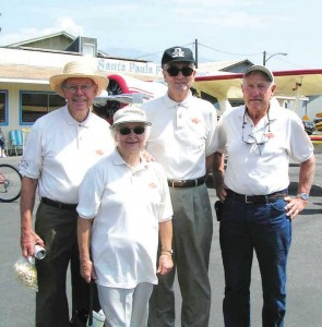 L to R: Bob Dickenson, Maurice Rigner and Ann and Gale Graham were at the original dedication of Santa Paula Airport on Aug. 9, 1930, and were proud to be back for the 75th anniversary.