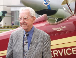 Clayton Scott, now 100, has been flying for 78 years, piloting biplanes, floatplanes and virtually every Boeing airliner and military aircraft produced, from the 247 to the 727 and the B-17 to the B-47 (shown behind him) and the B-52.
