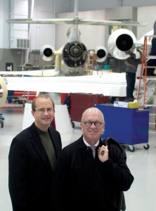 L to R: Duncan Aviation President Aaron Hilkemann and Chairman Robert Duncan visit one of the hangars at the company's headquarters in Lincoln, Neb.