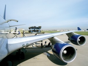 Two to three Boeing 747s are used to transport an entire racing circuit all over the world.