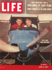 "After Yale students Neal and Linden Blue decided to fly around Latin America looking for business opportunities, various publications, including LIFE magazine, bought their story, dubbing them the ""Flying Blue Brothers."""
