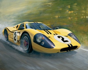 "Yellow GT40"" depicts the Ford GT40 MK IV that finished fourth in the 1967 Le Mans."