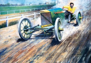 The daredevil driver tests the Peerless Green Dragon. Barney Oldfield's style of skidding through the turns under full throttle thrilled spectators and unnerved his fellow drivers.