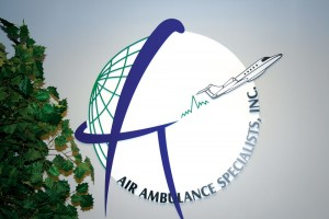 Shown is the Air Ambulance Specialist's logo adorned inside their Centennial Airport offices.