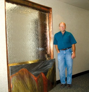 Wayne Kilbourn created this water wall in an orthodontist's office in Colorado Springs.