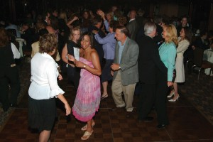 "Jet Aviation guests on the dance floor of the yacht ""Atlantica."""