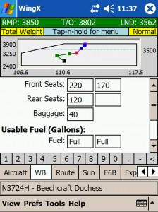 WingX users can calculate weight and balance in minutes by simply selecting their aircraft and entering their current information.