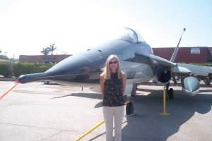 Museum Director Cindy Macha-Skjonsby in front of the Northrop YF-17A Cobra that competed in a fly-off with the General Dynamics YF-16A Falcon in 1974 for an Air Force contract. The YF-17A later led to the development of the McDonnell Douglas F/A-18 Hornet
