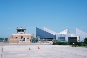 The old and new terminal buildings as renovations continued during the summer.